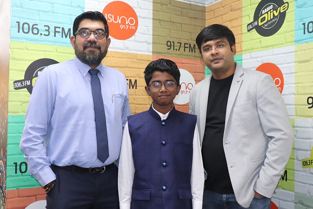 Olive Suno Managing Directors Mr. Ameer Ali and Mr. Krishnakumar with Adhithyan Rajesh