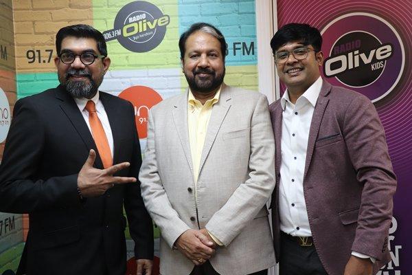 Radio Suno Managing Directors Ameer ali Paruvally and Krishnakumar with Film producer Mr Chandramohan pillai of Chandrakala arts during third annivesrary celebration at Radio suno office